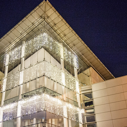 Bridgewater Hall decorated with christmas lights