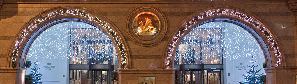 Midland Hotel archways decorated with Christmas lights
