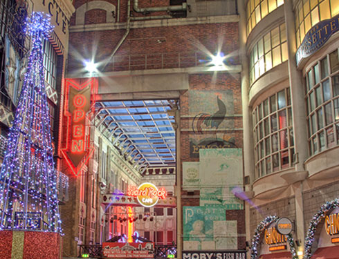 Inside of the Printworks decorated for Christmas