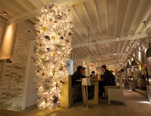Restaurant with white interior and white christmas tree