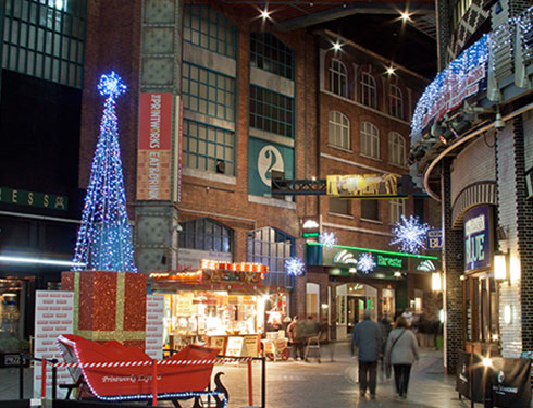 Printworks in Manchester decorated for Christmas