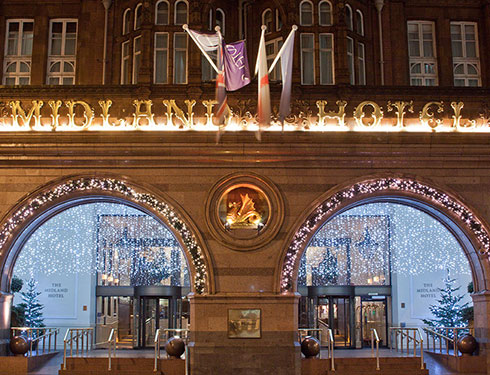 The Midland Hotel in Manchester decorated for Christmas