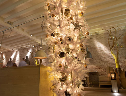 White christmas tree decoration in restaurant